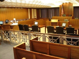 Courtroom in the James A. Byrne U.S. Courthouse